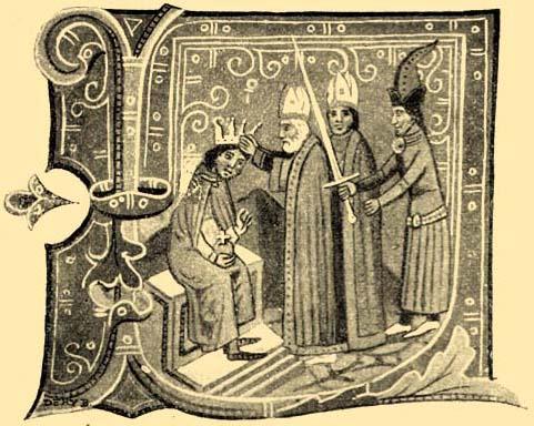 III. István megkoronázása. Miniature a bécsi képes krónika 121. lapján