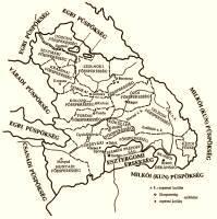26. térkép. Az erdélyi püspökség egyházkormányzati beosztása a 14. század elején