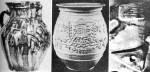 A várpalotai fazekascéh céhkorsója középkori típusú, álló tengelyű korong ábrázolásával. Bp. Néprajzi Múzeum – Középső kép: Fazekasremek (Tata, Komárom m., 1873) – Jobb oldali kép: Részlet a várpalotai fazekascéh korsójáról. Fazekasszerszámok: alul: háromszögletű simítófa, felül: cifrázó, szintén fából