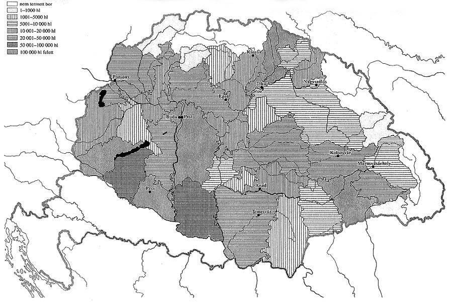 magyarország 1864 térkép Magyar Néprajz II. Gazdálkodás / SZŐLŐMŰVELÉS ÉS BORÁSZAT magyarország 1864 térkép
