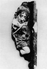 1. Hegedűs. Kályhacsempe Mátyás király palotájából, 15. század második fele (Budapesti Történeti Múzeum)