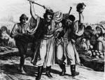 17. Vásári áldomásozók. Marastoni József metszete Lotz Károly rajza után, 1860 (MNM)