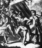 28. Táncoló kuruc tiszt. M. Engelbrecht rézmetszet-sorozatából, 1743–1750 (MNM)