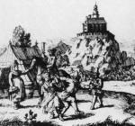 38. Páros tánc Éleskő vára előterében. A. E. Burckhard von Birckenstein metszetkönyvéből, 1686 (MNM)
