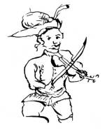 5. Paraszti hegedűs. Tollrajz a sziráki (Nógrád megye) anyakönyvből, 1726. Zolnay Lajos felvétele