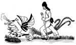 24. ábra. Csuba Ferenc sárréti táltos a sárkánnyal. Szűcs Sándor rajza az 1830-as években készült eredeti nyomán