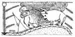25. ábra. Táltosviaskodás ábrázolása szaru sótartón, Sárrét. Szűcs Sándor rajza
