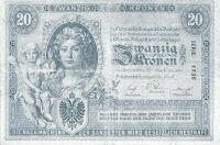 20 koronás bankjegy elő- és hátoldala, 1900