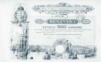 Magyar Folyam- és Tengerhajózási Rt. részvénye, Budapest, 1895