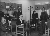 A Rádiókabaré felvétele előtt (Kaposy Miklós, Farkasházy Tivadar, Sinkó Péter, Déri János)