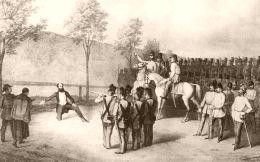 Gróf Batthyány Lajos kivégzése - litográfia (Nagyítható kép)