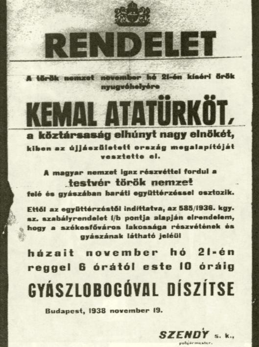 Atatürk gyászjelentése